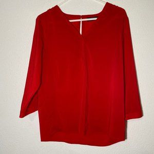 The Limited Womens Medium Red 3/4 Sleeve Blouse
